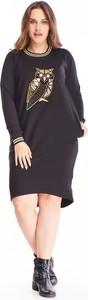 Sukienka N/A z bawełny dla puszystych z długim rękawem
