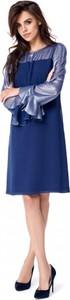 Niebieska sukienka POTIS & VERSO z długim rękawem z tkaniny midi
