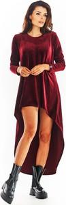 Sukienka Awama z okrągłym dekoltem z długim rękawem w stylu casual