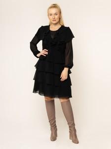 Czarna sukienka Persona by Marina Rinaldi z okrągłym dekoltem