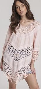 Różowa bluzka Renee w stylu boho z dekoltem w kształcie litery v