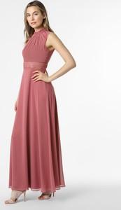 Różowa sukienka VM bez rękawów z dekoltem w kształcie litery v