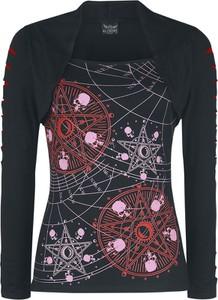 Czarna bluzka Emp z okrągłym dekoltem z długim rękawem z nadrukiem