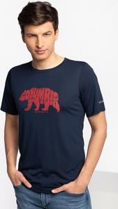 Niebieski t-shirt Columbia z krótkim rękawem
