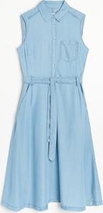 Niebieska sukienka Reserved bez rękawów mini szmizjerka