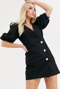 Czarna sukienka Asos Design mini z lnu