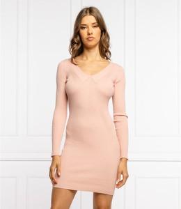 Sukienka Guess dopasowana z długim rękawem