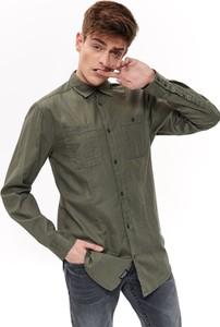 Zielona koszula Top Secret w stylu casual z długim rękawem z klasycznym kołnierzykiem