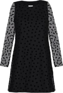 Czarna sukienka The Dot Queen z długim rękawem mini