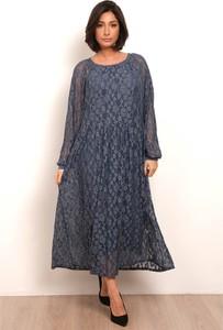 Sukienka Plus Size Fashion maxi z długim rękawem z okrągłym dekoltem