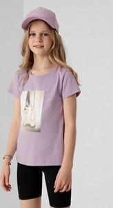 Bluzka dziecięca 4F dla dziewczynek z bawełny