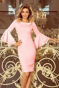Różowa sukienka NUMOCO z okrągłym dekoltem z długim rękawem mini