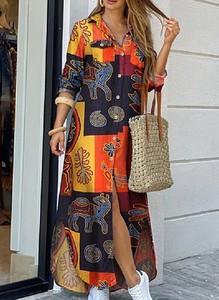 Sukienka Cikelly maxi w stylu casual koszulowa