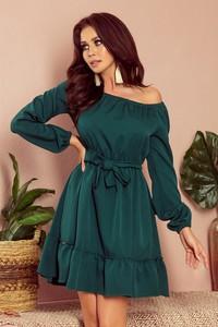 Zielona sukienka NUMOCO mini z długim rękawem rozkloszowana
