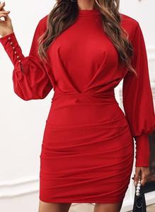 Czerwona sukienka Sandbella z długim rękawem w stylu casual z dekoltem w kształcie litery v
