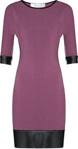 Fioletowa sukienka Fokus z okrągłym dekoltem ze skóry