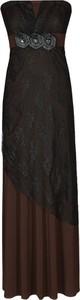 Brązowa sukienka Fokus bez rękawów z szyfonu maxi