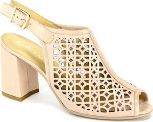 Sandały Euro Moda z klamrami na średnim obcasie