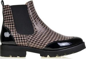 Brązowe botki lizard-shoes.com z płaską podeszwą w stylu casual