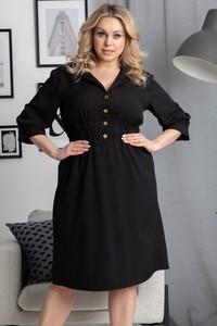 Czarna sukienka KARKO z długim rękawem mini z dekoltem w kształcie litery v