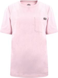 Różowy t-shirt Dickies z krótkim rękawem z okrągłym dekoltem