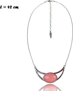 POLSKA Krótki naszyjnik z pudrowo-różowym oczkiem