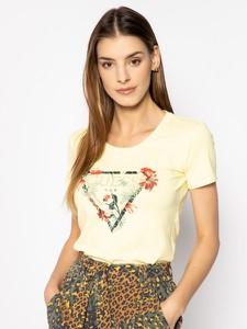 Żółty t-shirt Guess z krótkim rękawem
