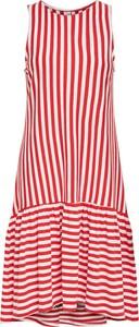 Czerwona sukienka Only bez rękawów z bawełny