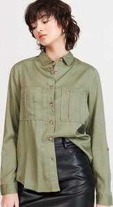 Zielona koszula Reserved z kołnierzykiem z długim rękawem w stylu casual