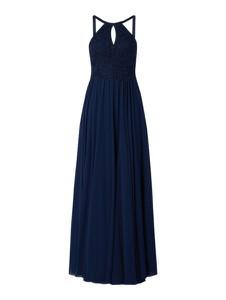 Granatowa sukienka Luxuar z dekoltem halter z tiulu bez rękawów