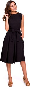 Sukienka Style z okrągłym dekoltem midi z lnu