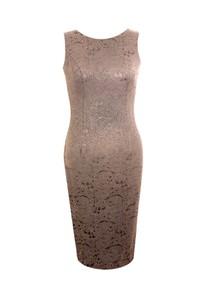 Brązowa sukienka Fokus z żakardu midi ołówkowa
