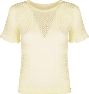 Żółta bluzka Patrizia Pepe z krótkim rękawem z okrągłym dekoltem w stylu casual