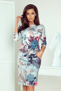 Sukienka NUMOCO midi z długim rękawem z okrągłym dekoltem