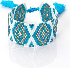 Peani Turkusowo-biała bransoleta boho tkana z koralików