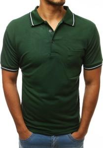 Zielona koszulka polo Dstreet z krótkim rękawem z bawełny w stylu casual