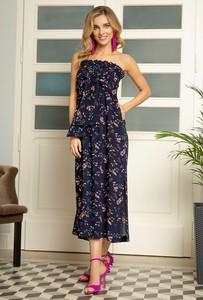 Granatowa sukienka gatta w stylu boho maxi