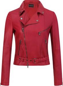 Czerwona kurtka Emporio Armani ze skóry krótka