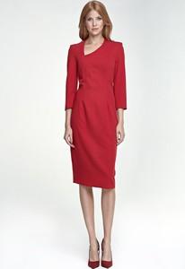 Sukienka Merg z długim rękawem asymetryczna z dekoltem w kształcie litery v