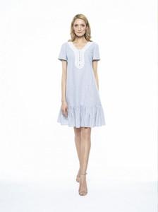 Niebieska sukienka L'AF z krótkim rękawem