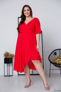 Sukienka tono.sklep.pl z długim rękawem oversize z dekoltem w kształcie litery v