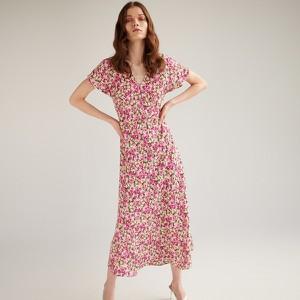 Różowa sukienka Reserved z krótkim rękawem w stylu casual z dekoltem w kształcie litery v