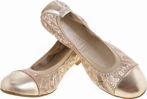 Złote baleriny Lafemmeshoes ze skóry