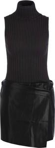 Czarna sukienka Liu-Jo ze skóry bez rękawów mini