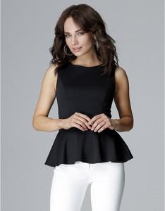 Czarna bluzka LENITIF z okrągłym dekoltem