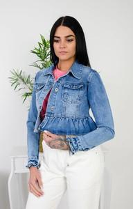 Niebieska kurtka Olika z jeansu krótka w młodzieżowym stylu