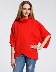Czerwona bluzka MOE w stylu casual z golfem