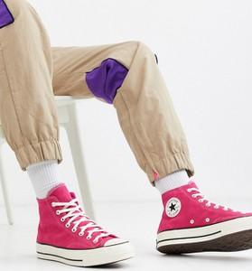 Różowe buty sportowe Converse sznurowane z zamszu