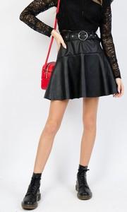 Czarna spódnica Olika w rockowym stylu ze skóry