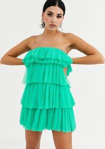 Zielona sukienka Lace & Beads bez rękawów mini